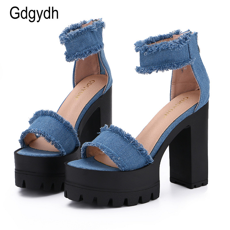 Gdgydh 2017 New Summer Shoes Fashion Denim Tassel Women Sandals Thick Heels  High Platform Zipper Female Shoes Large Size 35-39 – glammyfashion e692b6fa6c81