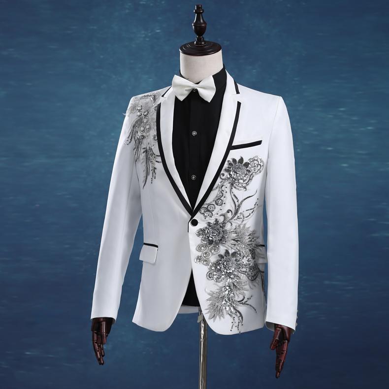 Men Slim White Wedding Suits Set Passionate Male Singer Host Evening ...